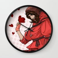 valentina Wall Clocks featuring Be my Valentina by LaurenceBaldetti