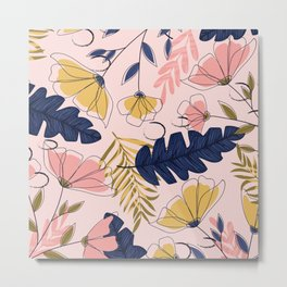 Pink and Blue Flowers Pattern Metal Print