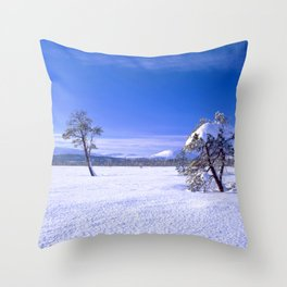 Winter landscape with two trees and clear blue sky Throw Pillow