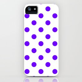 Polka Dots - Indigo Violet on White iPhone Case
