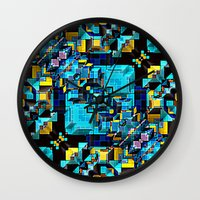 technology Wall Clocks featuring Blue Technology Abstract by Phil Perkins