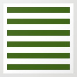 Simply Stripes in Jungle Green Art Print
