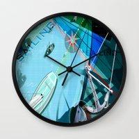 sailing Wall Clocks featuring Sailing by Robin Curtiss