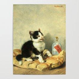 cute kitten 1- Julius Adam - the little patient -1885- pet,whikers,cat,kitty,kitten Poster