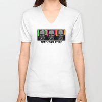 ford V-neck T-shirts featuring Harrison Ford by Sabrina
