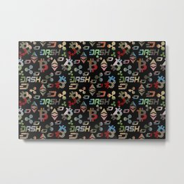 Cryptocurrency applique pattern Metal Print
