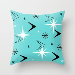 Vintage 1950s Boomerangs and Stars Turquoise Throw Pillow