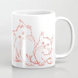 Katzen 001 / Minimal Line Drawing Of Two Cats Coffee Mug