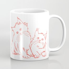 Katzen 001 / Minimal Line Drawing Of Two Cats Coffee Mug