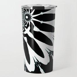 The Modern Flower Black White Blue Travel Mug