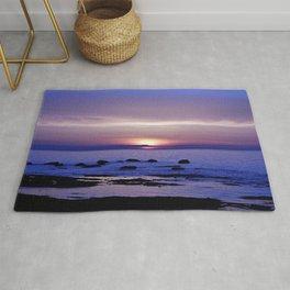 Blue and Purple Sunset on the Sea Rug
