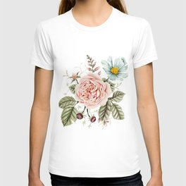 Rose and Foxglove Watercolor Florals T-shirt