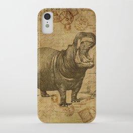 Vintage retro Hippo wildlife animal africa iPhone Case