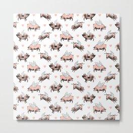 Flying Pigs | Vintage Pigs with Wings | Metal Print
