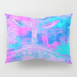 Totem Cabin Abstract - Hot Pink & Turquoise Pillow Sham