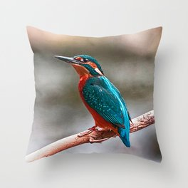 Eurasian Kingfisher (Alcedo atthis) Throw Pillow