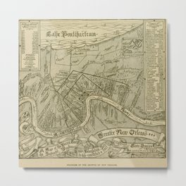 Vintage Map of New Orleans Louisiana (1919) Metal Print
