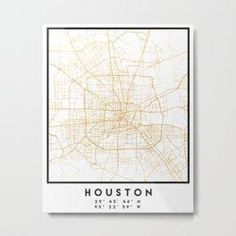 HOUSTON TEXAS CITY STREET MAP ART Metal Print