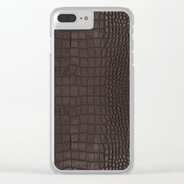 Alligator Brown Leather Print Clear iPhone Case