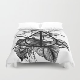 black flowers Duvet Cover