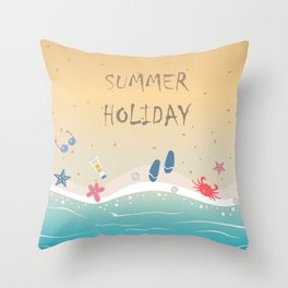 Summer Holiday Throw Pillow
