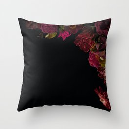 Vintage & Shabby Chic - Antique Dark Roses And Anemones On Black Throw Pillow