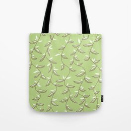 Gentle Green Leaves And Lianas Pattern Tote Bag