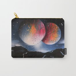 Double rainbow planets against mountain silhouette Carry-All Pouch