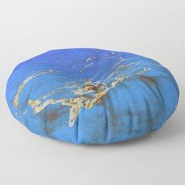 Sky Blue Marble With 24-Karat Gold Nugget Veins Floor Pillow