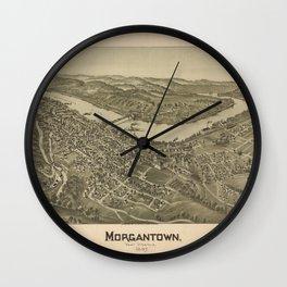 1897 street plan of Morgantown West Virginia Wall Clock