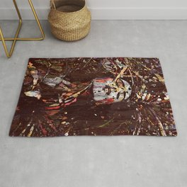 'Touched' - Woman in nature with eyes closed with leafs Rug
