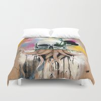 skull Duvet Covers featuring Skull Roots by FAMOUS WHEN DEAD