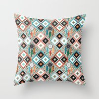 southwest Throw Pillows featuring Southwest Quilt by Vannina