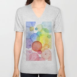 Watercolor Abstract Rainbow Circles and Splatters Unisex V-Neck