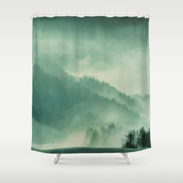 Turquoise Green Monochromatic Mist Misty Pine Forest Field Landscape Shower Curtain