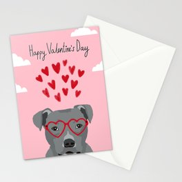Pitbull head love hearts valentines day gifts for dog breed pibble lovers Stationery Cards