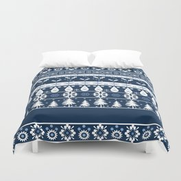 Retro . Christmas pattern . Blue background . Duvet Cover