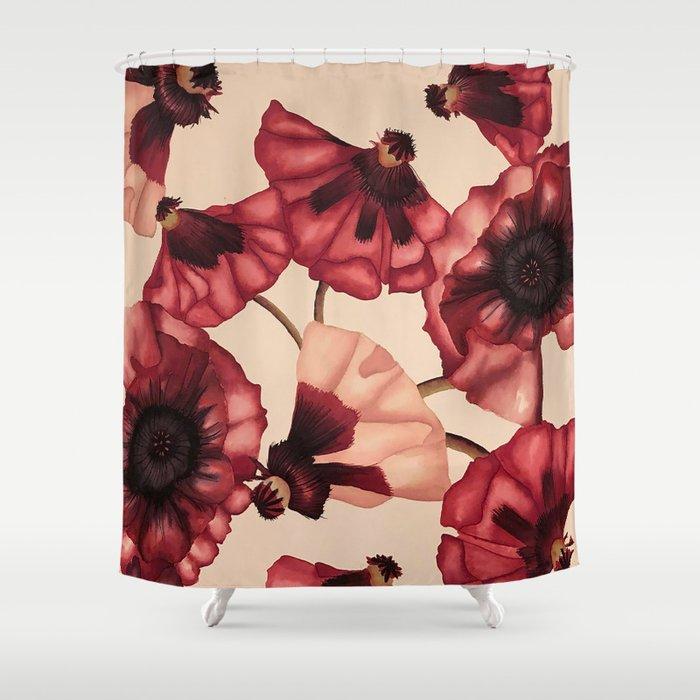 Poppies Shower Curtain By Audreycarolyn