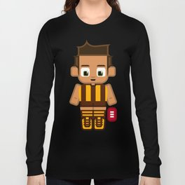 Super cute sports stars - Brown and Gold Aussie Footy Long Sleeve T-shirt