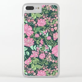 Pink repeating flower pattern Clear iPhone Case