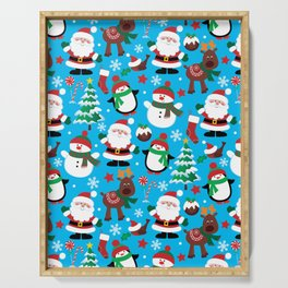 Santa Claus, Snowmen, Reindeer and Christmas Trees Pattern Serving Tray