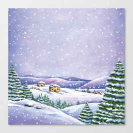 A purple winter's night Canvas Print