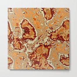 Red Orange Brown Marbled Mineral Stone Pattern Metal Print