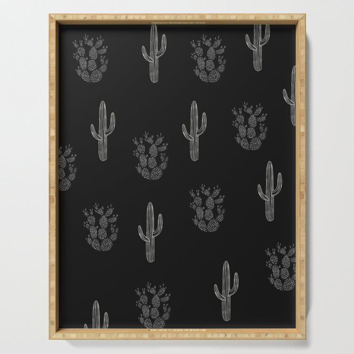 Cactus Pattern Black Serving Tray
