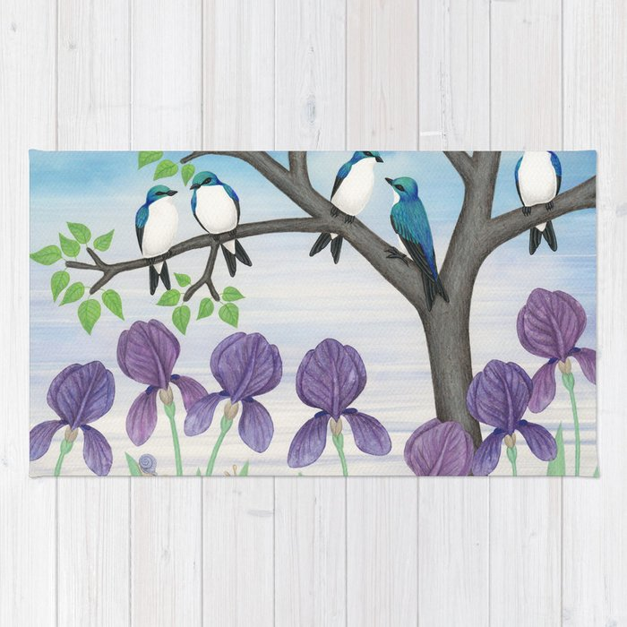 tree swallows & irises Rug