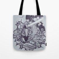 kaiju Tote Bags featuring Lucha Kaiju by Jonah Makes Artstuff