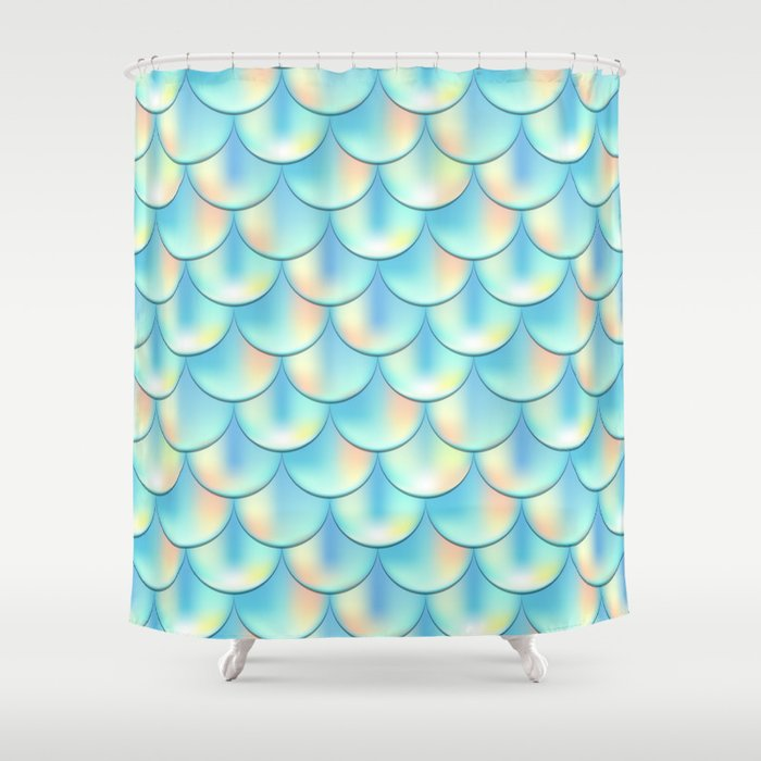 Teal Green Mermaid Pattern Holographic Fish Scale Print Shower Curtain