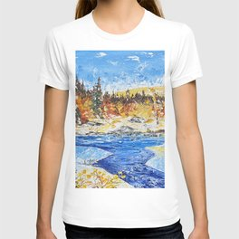Landscape painting- The clear water River - by LiliFlore T-shirt
