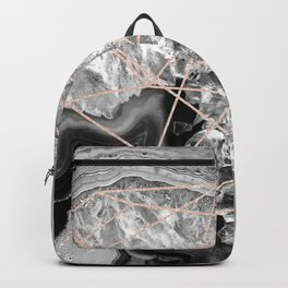 black and white agate with rose gold geometry pattern Backpack