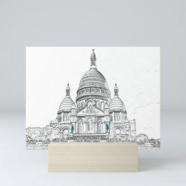 Sacre Coeur Basilica on Montmartre hill - Paris Mini Art Print
